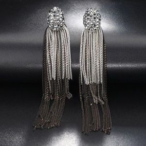 Gray Crystal Tassel Earrings